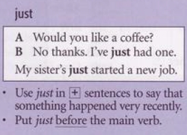 present perfect just