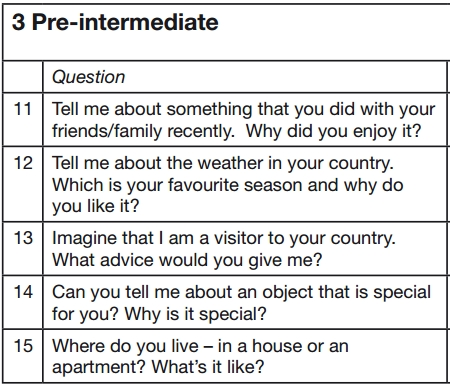 preguntas examen oral de ingles nivel preintermedio