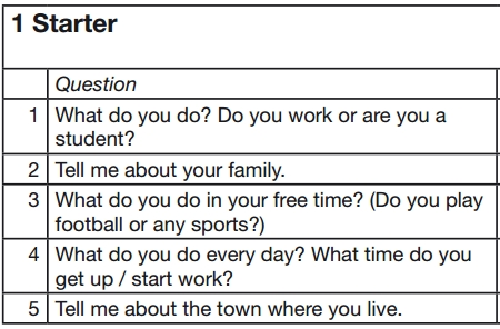 preguntas examen oral de ingles nivel starter