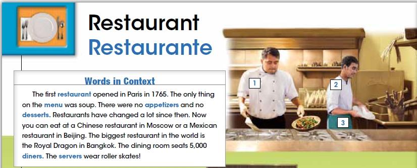 vocabulario restaurante en ingles 1