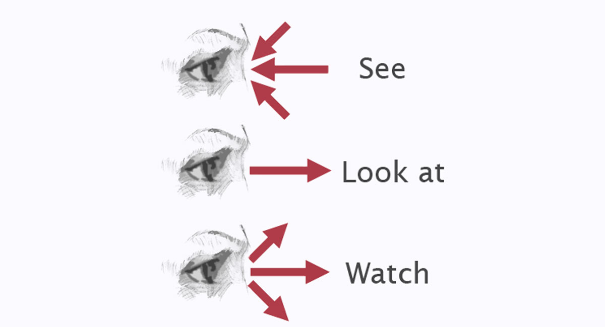 Diferencias entre look-see-watch en ingles